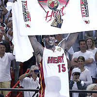 21 June 2012: Miami Heat point guard Mario Chalmers (15) celebrates after the Miami Heat 121-106 victory over the Oklahoma City Thunder, in Game 5 of the 2012 NBA Finals, at the AmericanAirlinesArena, Miami, Florida, USA. The Miami Heat wins the series 4-1.
