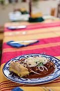 A traditional Oaxacan dish made by Reyna Mendoza Ruíz of El Sabor Zapoteco Cooking School in Teotitlan, Mexico.