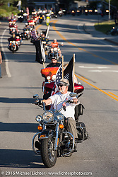 Veteran Angie Alberio riding in the 23rd Annual POW/MIA Freedom Ride and 28th  Anniversary of the Vigil in honor of POW/MIAs and their families by the Meredith docks during Laconia Motorcycle Week 2016. USA. Thursday, June 16, 2016.  Photography ©2016 Michael Lichter.