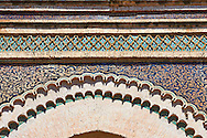 Decorated Arabesque Berber  and entrance to the Medina. A UNESCO World Heritage Site .Meknes, Meknes-Tafilalet, Morocco. .<br /> <br /> Visit our MOROCCO HISTORIC PLAXES PHOTO COLLECTIONS for more   photos  to download or buy as prints https://funkystock.photoshelter.com/gallery-collection/Morocco-Pictures-Photos-and-Images/C0000ds6t1_cvhPo<br /> .<br /> <br /> Visit our ISLAMIC HISTORICAL PLACES PHOTO COLLECTIONS for more photos to download or buy as wall art prints https://funkystock.photoshelter.com/gallery-collection/Islam-Islamic-Historic-Places-Architecture-Pictures-Images-of/C0000n7SGOHt9XWI