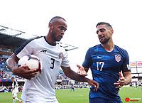 Feb 2, 2019; San Jose, CA, USA; Costa Rica defender Pablo Arboine (3) holds the ball away from USA midfielder Sebastian Lletget (17) during the second half of the international friendly at Avaya Stadium. Mandatory Credit: Kelley L Cox-USA TODAY Sports