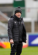Leicester Tigers Head  Assistant Coach Mike Ford guides the team warm up before a Gallagher Premiership Round 10 Rugby Union match, Friday, Feb. 20, 2021, in Leicester, United Kingdom. (Steve Flynn/Image of Sport)