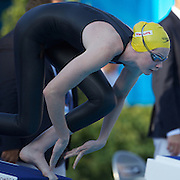 Cate Campbell of Australia at the start of the Women's 50m Freestyle at the World Swimming Championships in Rome, Italy on Sunday, August 2, 2009. Photo Tim Clayton.