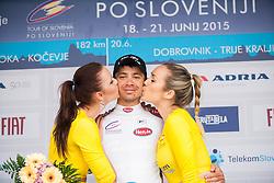 Manja Dobrilovic, PAVLIC Marko (Slovenia) of Radenska Ljubljana, best in U23 classification and Katarina Bencek during flower ceremony after the Stage 2 of 22nd Tour of Slovenia 2015 - cycling race in Kocevje  on June 19, 2015 in Slovenia. Photo by Ziga Zupan / Sportida