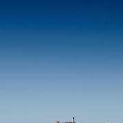 Alcatraz Island in San Francisco Bay with copyspace of blue sky