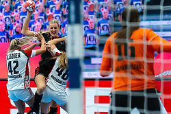 Kelly Dulfer of Netherlands, Katrinn Klujber of Hungary, Dorrotya Faluvegi of Hungary in action during the Women's EHF Euro 2020 match between Netherlands and Hungry at Sydbank Arena on december 08, 2020 in Kolding, Denmark (Photo by RHF Agency/Ronald Hoogendoorn)
