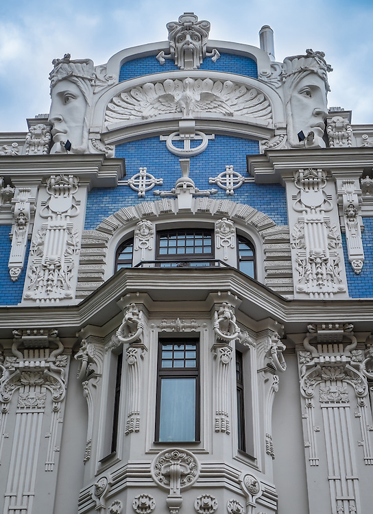 RIGA, LATVIA - CIRCA MAY 2014: Architectural detail of typical Art Nouveau building in  Riga