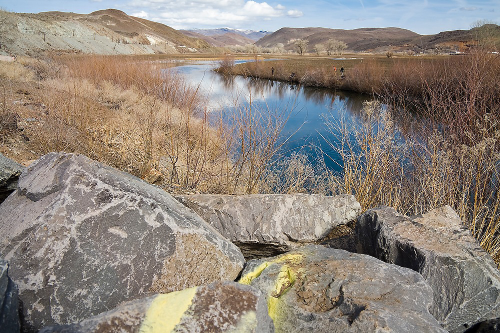 View of the Truckee River and boulder embankment at Mustang Ranch, near Reno, Nevada. The ranch is one of three properties so far being restored in a $20 million effort by the Nature Conservancy to revitalize the Lower Truckee River ecosystem.