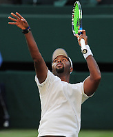 Tennis - 2017 Wimbledon Championships - Week One, Wednesday [Day Three]<br /> <br /> Men's Singles, Second Round match<br /> Rafael Nadal (GBR) vs Donald Young (USA) <br /> <br /> Donald Young impersonates putting the ball into the basket , after missing his shot on Centre court <br /> <br /> COLORSPORT/ANDREW COWIE
