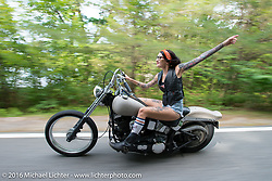 Kissa Von Addams of the Iron Lilies during Laconia Motorcycle Week 2016. NH, USA. Sunday, June 19, 2016.  Photography ©2016 Michael Lichter.