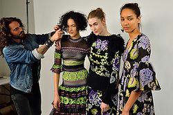 © Licensed to London News Pictures. 21/02/2016. Models back stage at the Temperley show at the London Fashion Week Autumn/Winter 2016 show. Models, buyers, celebrities and the stylish descend upon London Fashion Week for the Autumn/Winters 2016 clothes collection shows. London, UK. Photo credit: Ray Tang/LNP