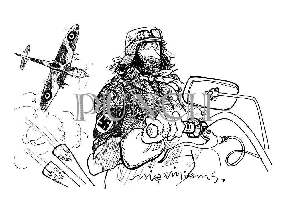 (Biker with Nazi regalia and Spitfire above)