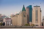 Shanghai skyline including the Peace Hotel alongside the Bund embankment, Shanghai, China