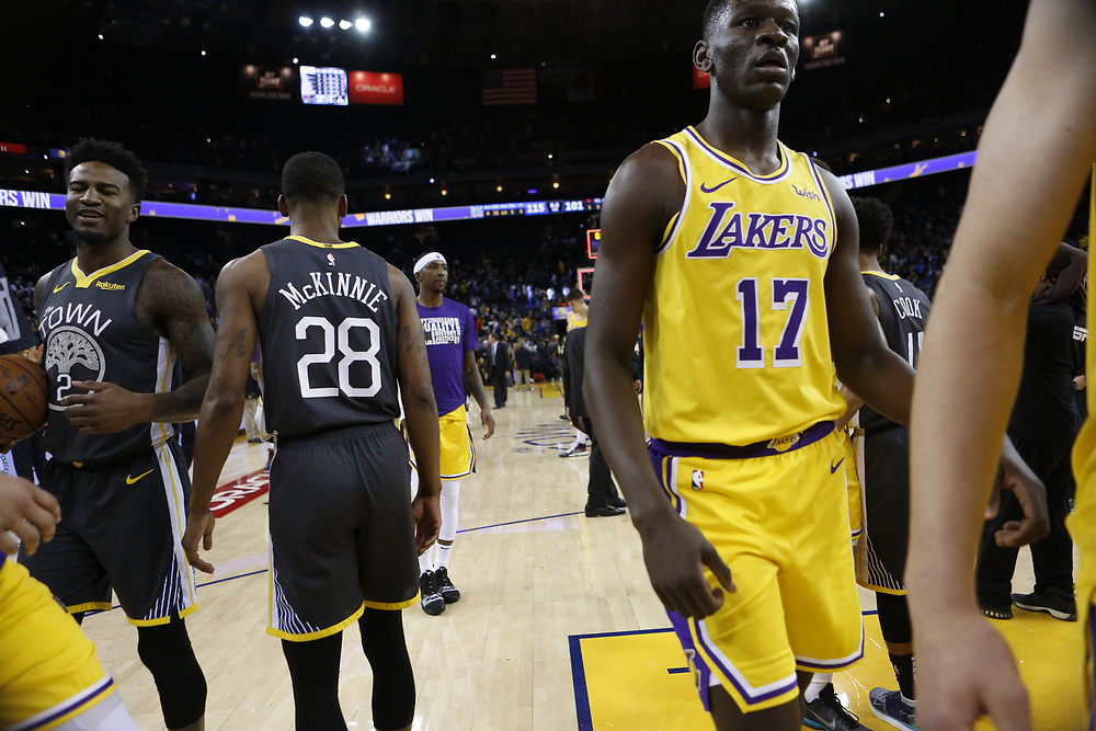 in the second half of an NBA game at Oracle Arena on Saturday, Feb. 2, 2019, in Oakland, Calif. The Warriors won 115-101.