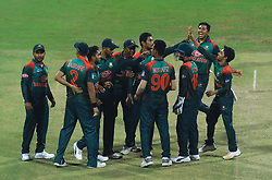 September 27, 2018 - Abu Dhabi, United Arab Emirates - Bangladesh cricketers celebrate during the Asia Cup 2018 cricket match between Bangladesh and Pakistan at the Sheikh Zayed Stadium,Abu Dhabi, United Arab Emirates on September 26, 2018  (Credit Image: © Tharaka Basnayaka/NurPhoto/ZUMA Press)