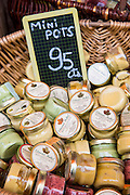 Traditional Dijon mustard for sale in La Fabrique Bouchons shop in the old town in Dijon, Burgundy region of France