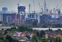 © Licensed to London News Pictures. 09/05/2019. London, UK. High rise residential buildings dominate the skyline in Wembley, north London.  The government have announced that they will pay £200m towards the cost of re-cladding about 150 private tower blocks in England with safer alternatives after the Grenfell fire tragedy. Photo credit: Peter Macdiarmid/LNP