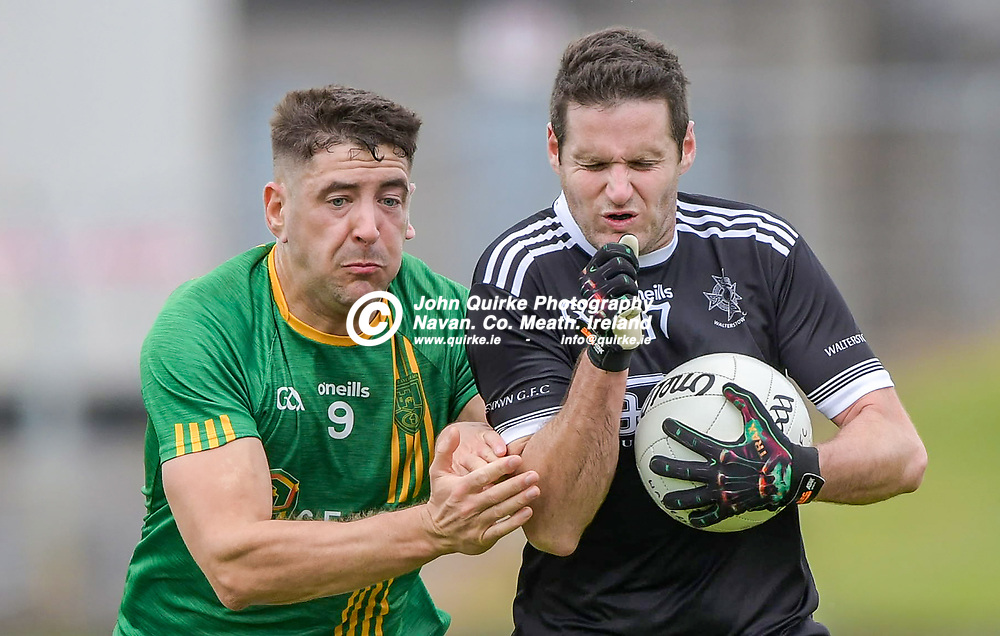 Castletown's Shane Hoey and Conor O'Sullivan of Walterstown (right),    in the Castletown v Walterstown, 2020 Corn na Boinne Final match, at Pairc Tailteann, Navan.<br /> <br /> Photo: GERRY SHANAHAN-WWW.QUIRKE.IE<br /> <br /> 02-08-2021
