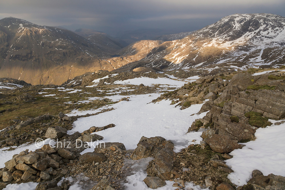 Looking back down the path between Piers Gill and Lingmell Col from Scafell Pike