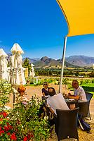 Terrace of restaurant at Haute Cabriere Vineyard Estate, Franschhoek Pass, Franschhoek, Cape Winelands, South Africa.