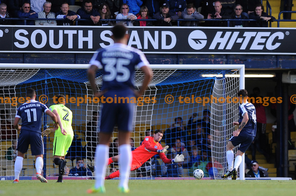 Southends Anthony Wordsworth sees his penalty saved by Peterboroughs Luke McGee in action during the Sky Bet League 1 match between Southend United and Peterborough at Roots Hall in Southend. October 1, 2016.<br />Holly  Allison / Telephoto Images<br />+44 7967 642437