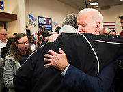 21 JANUARY 2020 - AMES, IOWA: Former US Vice President JOE BIDEN hugs a man on the rope line during a campaign event at the Gateway Hotel and Conference Center in Ames, Tuesday. About 150 people came to listen to former Vice President Biden talk about his reasons for running for President. Iowa hosts the first event of the presidential election cycle. The Iowa Caucuses are Feb. 3, 2020.       PHOTO BY JACK KURTZ
