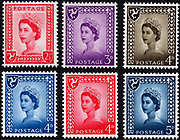 Set of Isle of Man regional issue stamps. The red twopence halfpenny and a lilac threepence were issued on 18 August 1958 and the others, of the same design but different colour and denomination between then and 1969 and is use until 1973.