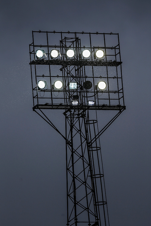A general view of rain being illuminated by the floodlights at The County Ground, home of Swindon Town<br /> <br /> Photographer Craig Mercer/CameraSport<br /> <br /> Football - The Football League Sky Bet League One - Swindon Town v Blackpool - Saturday 20th February 2016 - County Ground - Swindon    <br /> <br /> © CameraSport - 43 Linden Ave. Countesthorpe. Leicester. England. LE8 5PG - Tel: +44 (0) 116 277 4147 - admin@camerasport.com - www.camerasport.com