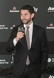 April 19, 2018 - Los Angeles, California, U.S - The 2018 International Champions Cup organizers announced the teams and schedule for the summer soccer tournament featuring top European clubs during a press conference on Thursday April 19, 2018 at OUE Skyspace LA in Los Angeles, California. CEO of RELEVANT, Daniel Sillman addresses the media. (Credit Image: © Prensa Internacional via ZUMA Wire)
