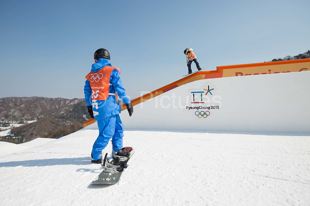 Minsik Lee, Korea & Sina Candrian, Switzerland, during the snowboard slopestyle practice on the 8th February 2018 at Phoenix Snow Park for the Pyeongchang 2018 Winter Olympics in South Korea