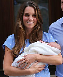 Duchess of Cambridge with her new baby boy<br /> Lindo Wing of St Mary's Hospital, London, United Kingdom<br /> Tuesday, 23rd July 2013<br /> Picture by Stephen Lock / i-Images