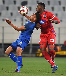 Cape Town-180804 Cape Town City striker Matthew Rusike challenged by Morgan Gould  of Supersport in the first game of the 2018/2019 season at Cape Town Stadium.photograph:Phando Jikelo/African News Agency/ANAr
