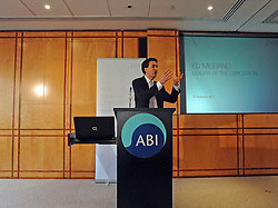 © Licensed to London News Pictures. 24/11/2011, London, UK. Ed Miliband, Leader of the Opposition, delivers his speech at the Association of British Insurers today 24 November 2011 to the IPPR ahead of the Chancellor's Autumn Statement. Photo credit : Stephen Simpson/LNP