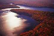 Aerial, PA landscapes, Promised Lake, Promised Land State Park, fall colors, NE PA Aerial Photograph Pennsylvania
