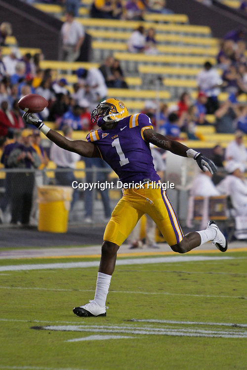 Nov 14, 2009; Baton Rouge, LA, USA;  LSU Tigers wide receiver Brandon LaFell (1) catches a pass during warm ups prior to kickoff against the Louisiana Tech Bulldogs at Tiger Stadium. LSU defeated Louisiana Tech 24-16. Mandatory Credit: Derick E. Hingle-US PRESSWIRE