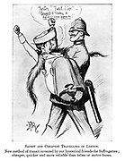 """Safest and cheapest travelling in London. New method of transit invented by our hysterical friends the suffragettes; cheaper, quicker and more reliable than tubes or motor-buses. (an Edwardian cartoon shows a policeman man-handling and carrying away a Suffragette as she shouts """"Justice!! Justice!!- COWARD to carry a DEFENCELESS WOMAN!!"""""""