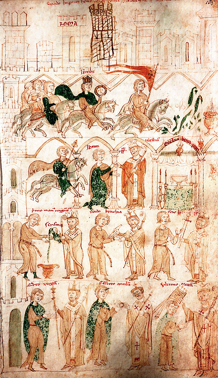 pen-and-ink miniature from the picture chronicle of Henry VII (Balduineum) drawing on parchment from 1341
