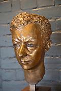Bronze head sculpture of Benjamin Britten by Georg Ehrlich 1951, Snape Maltings, Suffolk, England, Uk