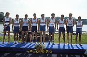Hazewinkel. BELGIUM,  GBR, Bronze medalist. GBR JM8+, Edward STERCK, Toby GAYNER, Terence SANDERS, Adam MOFFATT, Dan OUSELEY, Ronan CANTWELL, Edward RUSSEL,  Chris MARTIN and cox Angus RIVERS1997 FISA Junior World Rowing Championships. Course, Bloso Rowing Centre, Heindonk, Willebroek, Mechelen, Belgium.<br /> <br /> <br /> [Mandatory Credit; Peter Spurrier/Intersport-images] 1997 Junior World Rowing Championships, Hazewink