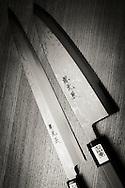 To the left a honyaki yanagi knife and to the right a honyaki deba knife.<br /> Knives by Yoshikazu Ikeda Forged Knife Master Craftsman, Sakai, Osaka Prefecture, Japan