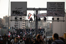 ©2020 Tom Nicholson. 14/01/2020. Beirut, Lebanon. Anti-government demonstrators take part in a road block demonstration in central Beirut. Various national demonstrations took place today as part of a wider movement which started in mid October 2019, campaigning against government corruption and economic crisis. Photo credit : Tom Nicholson