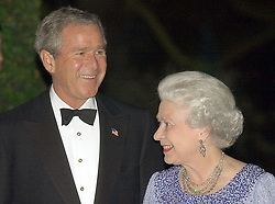 Britain's Queen Elizabeth II is greeted by American President George W Bush at Winfield House in London. President Bush is hosting a reciprocal banquet.   * The Presidential party travel to the north of England tomorrow to visit Prime Minister Tony Blair's Sedgefield constituency.