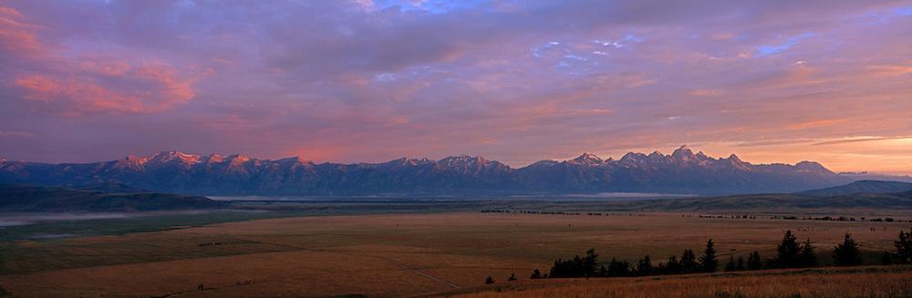 Sunrise on the Teton Mountains and Jackson Hole in Grand Teton National Park