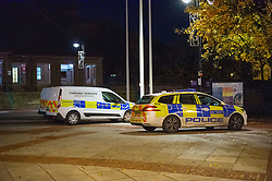 Licensed to London News Pictures. 07/11/2019. Hillingdon, UK. Metropolitan Police at the Civic Centre in Uxbridge after a 18-year-old was stabbed. The teenager was taken by London Ambulance Service to a west London hospital where he sadly died at 17:25GMT. Photo credit: Peter Manning/LNP