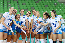 Players of Slovenia celebrate after the volleyball match between National team of Slovenia and Dominican Republic in Preliminary Round of Womens U23 World Championship 2017, on September 4, 2017 in SRC Stozice, Ljubljana, Slovenia. Photo by Morgan Kristan / Sportida