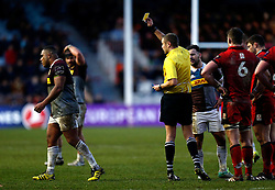 Harlequins' Kyle Sinckler is shown a yellow card during the European Challenge Cup, pool five match at Twickenham Stoop, London.