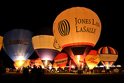 © Licensed to London News Pictures. 09/08/2012. Bristol, UK. The Nightglow for the start of the Jones Lang LaSalle Bristol International Balloon Fiesta, which runs from 09-12 August at Ashton Court in Bristol.  This year's fiesta is sponsored by Jones Lang LaSalle. 09 August 2012..Photo credit : Simon Chapman/LNP