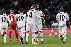 January 24, 2019 - Madrid, Spain - Real Madrid's Sergio Ramos (L) and Marcelo Vieira during Copa del Rey match between Real Madrid and Girona FC at Santiago Bernabeu Stadium. (Credit Image: © Legan P. Mace/SOPA Images via ZUMA Wire)