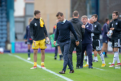 Dundee's manager Neil McCann at the end. Dundee 0 v 3 Ayr United, Scottish League Cup Second Round, played 18/8/2018 at the Kilmac Stadium at Dens Park, Scotland.