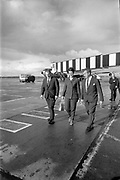 20th September 1967<br /> <br /> Mr Charles Haughey T.D., Minister for Finance, departs for the United States of America from Dublin Airport. Mr Haughey was to open New Ireland House in New York before traveling on to Rio de Janeiro, to attend the World Bank and International Monetary Fund meeting. Picture shows (l-r): Mr Charles Haughey TD; Mrs Maureen Haughey and Mr Finbarr Donovan, Aer Lingus Assistant General Manager Commercial, walking to the aircraft.